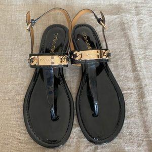 COACH women's Caterine Black Thong Flat Sandals